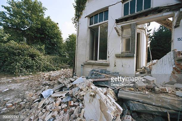 Earthquake wracked house, close-up
