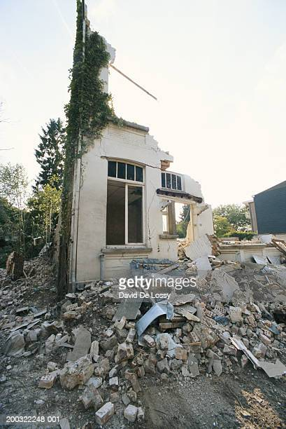 Earthquake wracked house, low angle view