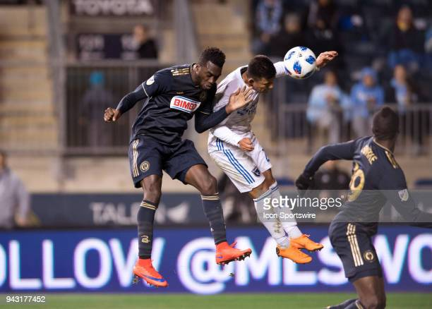 Earthquakes Defender Nick Lima and Union Forward CJ Sapong go for a header in the second half during the game between the San Jose Earthquakes and...