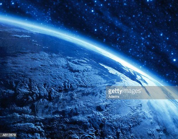 Earth's curvature view from space (digital composite & enhancement)