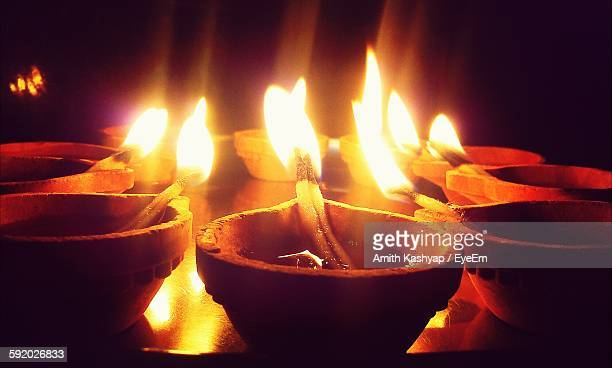 Earthware Lamps Filled With Oil For Diwali