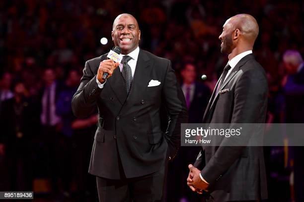 Earvin 'Magic' Johnson addresses the crowd before Kobe Bryant has his and Los Angeles Lakers jerseys retired at Staples Center on December 18 2017 in...