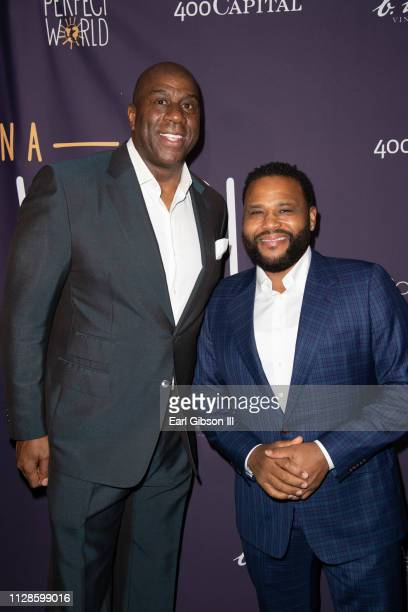 Earvin 'Magic' Johnson and Anthony Anderson attend In A Perfect World MAP Gala at The Jeremy Hotel on March 3 2019 in West Hollywood California