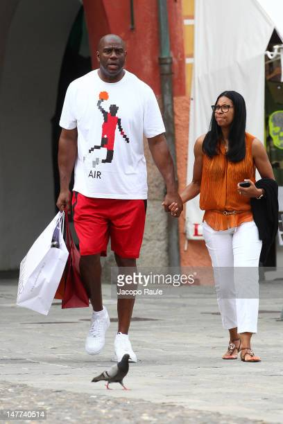 Earvin 'Magic' Johnson and Cookie Johnson are seen on July 2 2012 in Portofino Italy