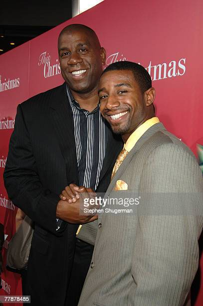 Earvin Magic Johnson and his son Andre Johnson attend the premiere of Screen Gems This Christmas at the Cinerama Dome on November 12 2007 in...