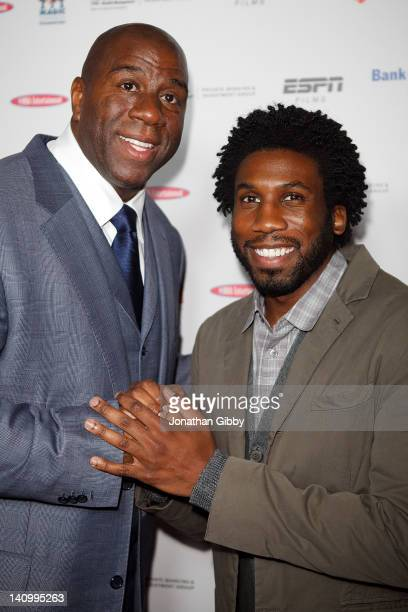 Earvin Magic Johnson and Nyambi Nyambi attend the Los Angeles Premiere of ESPN Films Documentary The Announcement on March 6 2012 in Los Angeles...