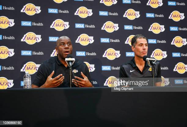 Earvin Magic Johnson and Rob Pelinka discuss the upcoming Los Angeles Lakers' season at UCLA Health Training Center on September 20 2018 in El...