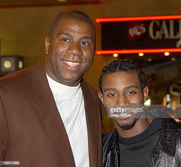 Earvin 'Magic' Johnson and son Andre during 'Biker Boyz' Premiere at Mann's Chinese Theatre in Hollywood California United States