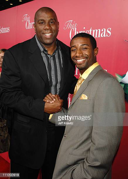 Earvin 'Magic' Johnson and son Andre Johnson at the 'This Christmas' premiere at the Cinerama Dome on November 12 2007 in Hollywood California