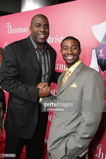 Earvin Magic Johnson and son Andre Johnson at the This Christmas premiere at the Cinerama Dome on November 12 2007 in Hollywood California