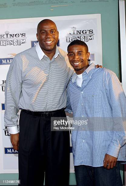 Earvin Magic Johnson and son Andre Johnson during King's Ransom Los Angeles Premiere Red Carpet at ArcLight Cinerama Dome in Los Angeles California...