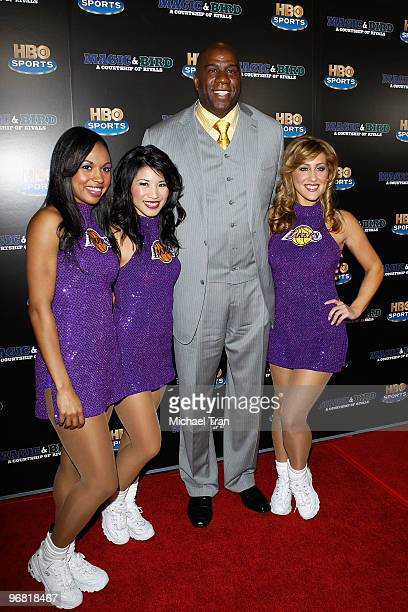 Earvin 'Magic' Johnson and The Laker Girls attend the Los Angeles premiere of HBO's Magic And Bird A Courtship Of Rivals held at Mann Bruin Theatre...