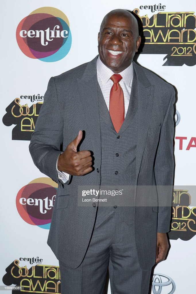 Earvin 'Magic' Johnson arrives at the Soul Train Awards 2012 at Planet Hollywood Casino Resort at on November 8, 2012 in Las Vegas, Nevada.