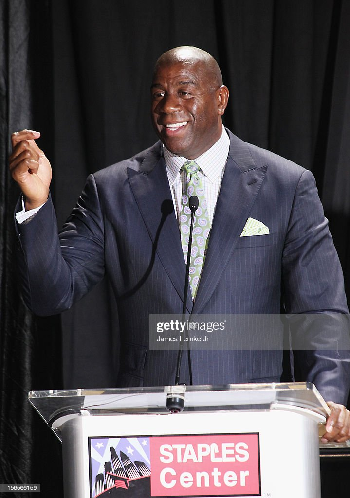 Earvin 'Magic' Johnson attends the Kareem Abdul-Jabbar Statue Unveiling held at the Staples Center on November 16, 2012 in Los Angeles, California.
