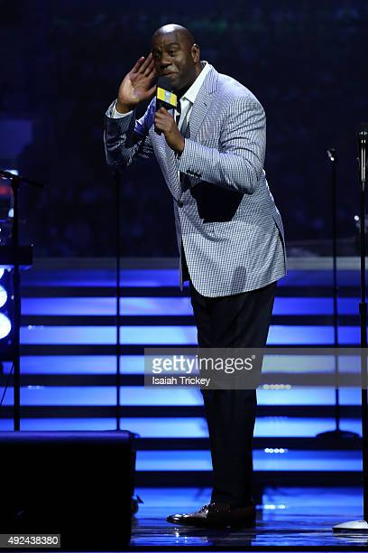 Earvin 'Magic' Johnson attends WE Day Toronto at the Air Canada Centre on October 1, 2015 in Toronto, Canada.