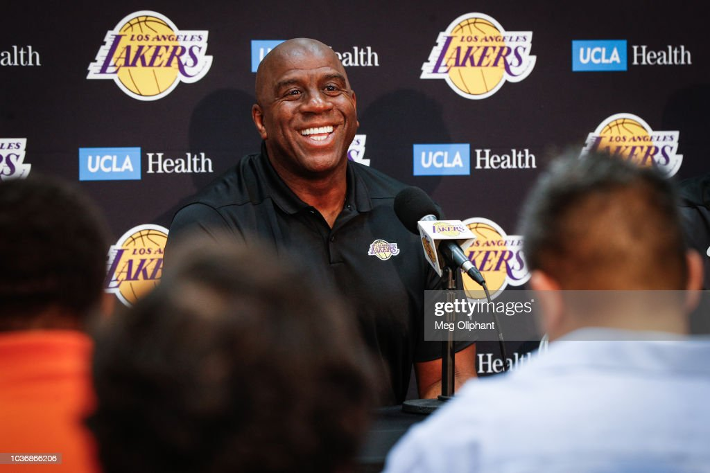 "Earvin ""Magic"" Johnson & Rob Pelinka Los Angeles Lakers Media Availability"