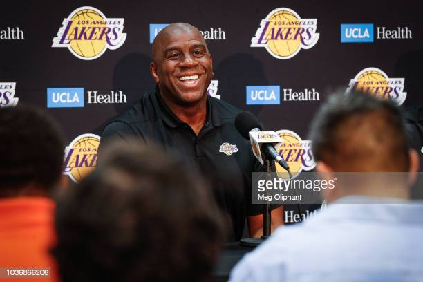 Earvin 'Magic' Johnson discusses the upcoming Los Angeles Lakers' season at UCLA Health Training Center on September 20 2018 in El Segundo California