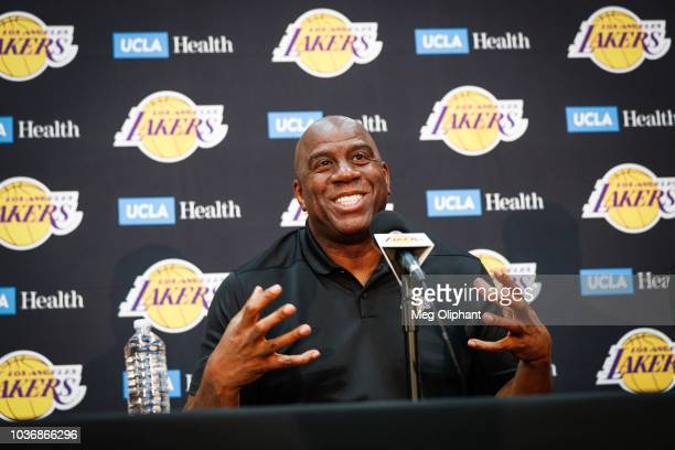 Earvin Magic Johnson discusses the upcoming Los Angeles Lakers' season at UCLA Health Training Center on September 20 2018 in El Segundo California