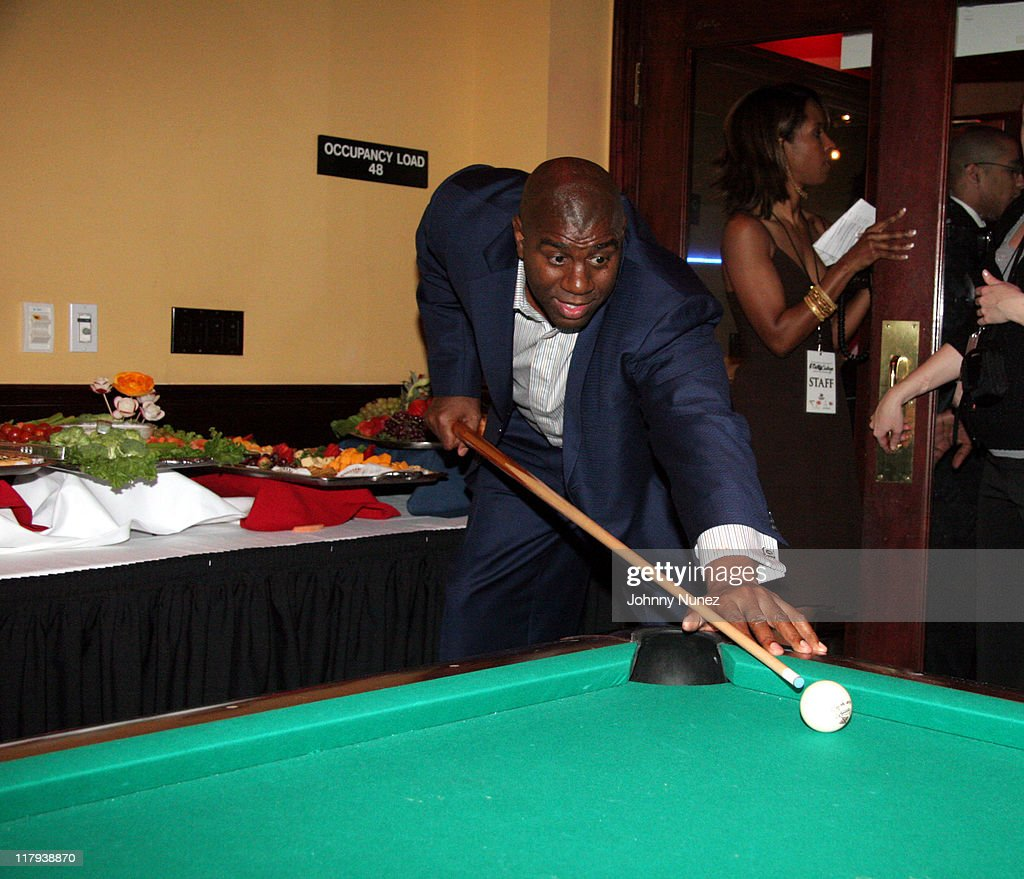Earvin 'Magic' Johnson during Boost Mobile Presents ZO and Magic's 8 Ball Challenge Celebrity Pool Tournament at Jillian's of Houston in Houston, Texas, United States.