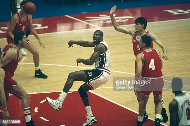 Earvin 'Magic' Johnson from USA during the final of the men's basketball tournament at the 1992 Olympics against Croatia USA won 11785 | Location...