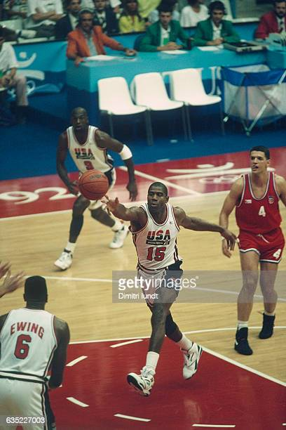 Earvin 'Magic' Johnson from USA during the final of the men's basketball tournament at the 1992 Olympics against Croatia USA won 11785   Location...