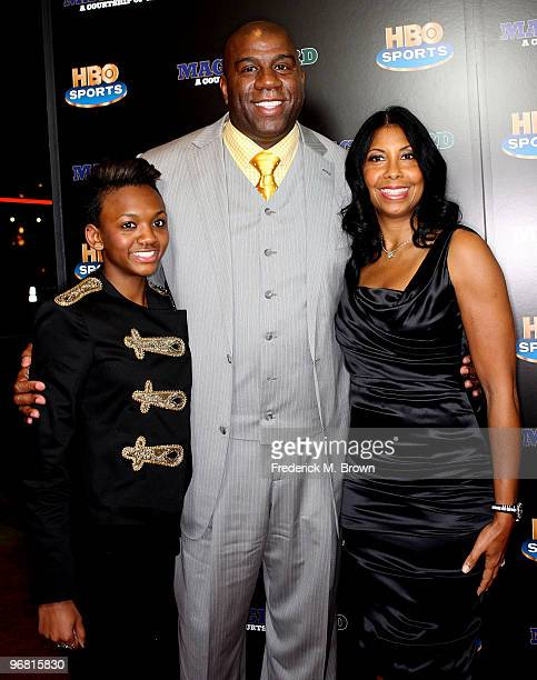 Earvin Magic Johnson his wife Cookie Johnson and daughter Elisa Johnson attend the Magic Bird A Courtship of Rivals film premiere at the Mann Bruin...