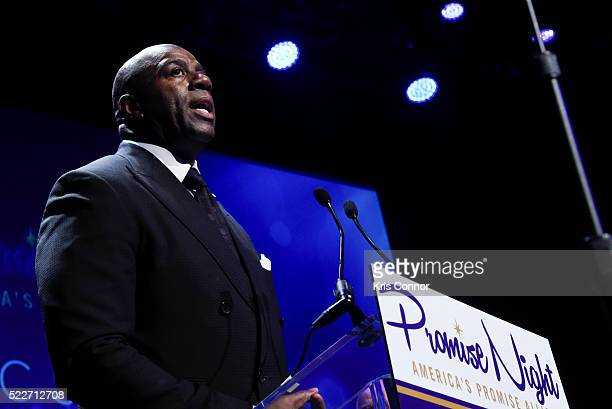 "Earvin ""Magic"" Johnson Jr. Attends the America's Promise Alliance's Promise Night Gala 2016 where he received an award at Howard Theatre on April 20,..."