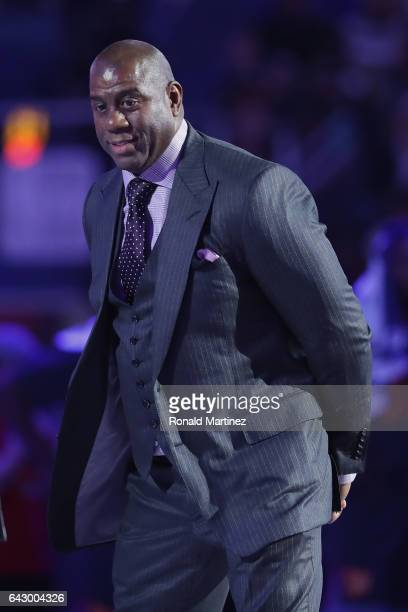 Earvin 'Magic' Johnson Jr is honored during the 2017 NBA AllStar Game at Smoothie King Center on February 19 2017 in New Orleans Louisiana NOTE TO...