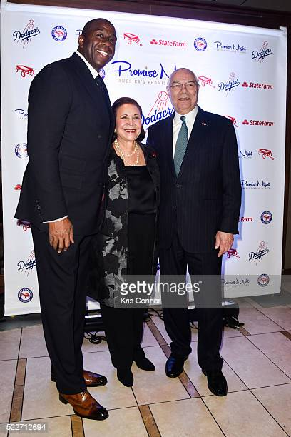 "Earvin ""Magic"" Johnson Jr. Receives an award from Alma Powell and Colin Powell during the America's Promise Alliance's Promise Night Gala 2016 at..."
