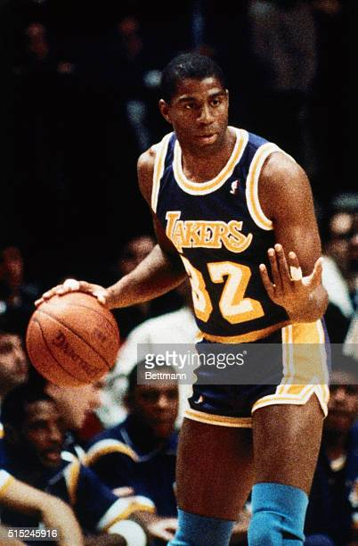 Earvin Magic Johnson Los Angeles Lakers guard Dribbling