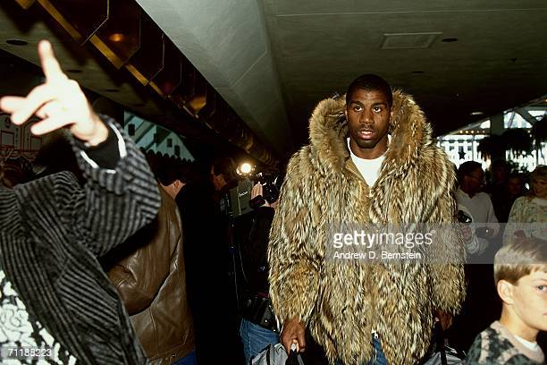 Earvin Magic Johnson of the Los Angeles Lakers arrives at the arena before the 1988 NBA AllStar Game on February 7 1988 in Chicago Illinois NOTE TO...