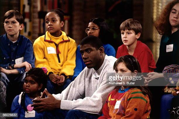 Earvin Magic Johnson of the Los Angeles Lakers guest stars on a Nickelodeon Television special circa 1991 in Secaucus New Jersey NOTE TO USER User...