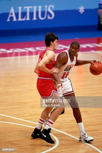 Earvin Magic Johnson of the United States moves the ball in the 1992 Olympic game against Croatia on August 8 1992 in Barcelona Spain The 'Dream...