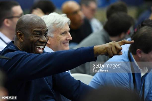 Earvin Magic Johnson president of basketball operations of the Los Angeles Lakers watches action during Day One of the NBA Draft Combine at Quest...