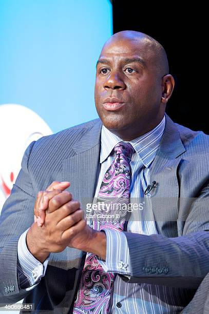 Earvin 'Magic' Johnson serves as a panelist at the Apollo theater in Harlem to raise awareness for HIV testing and prevention in advance of World...