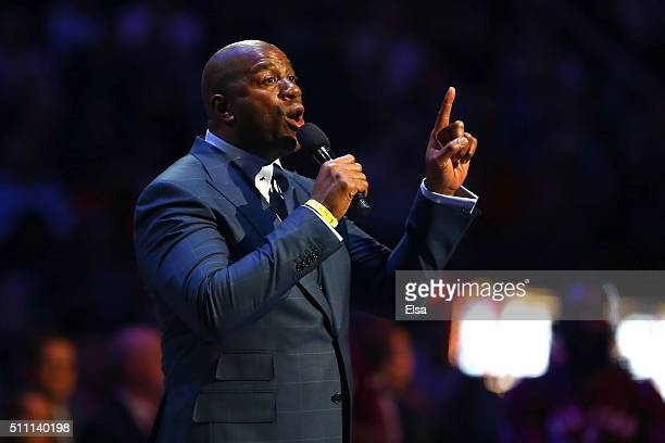 Earvin 'Magic' Johnson speaks about Kobe Bryant of the Los Angeles Lakers and Western Conference before the NBA AllStar Game 2016 at the Air Canada...