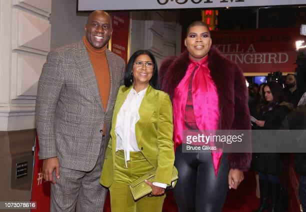 Earvin Magic Johnson wife Cookie Johnson and son EJ Johnson pose at the opening night of the hit play To Kill a Mockingbird on Broadway at The...