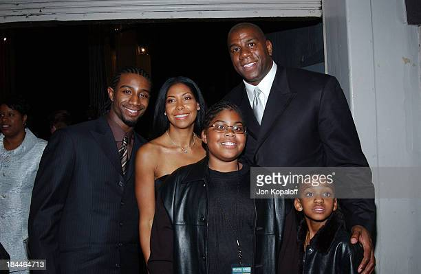 Earvin 'Magic' Johnson with family at the Official TipOff to NBA AllStar 2004 Entertainment American Express Celebrates the Rewarding Life of Earvin...