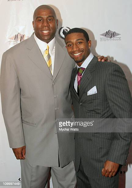 Earvin Magic Johnson with Son Andre during JayZ Celebrates The Grand Opening of The 40/40 Club in Atlantic City Arrivals at Caesars Hotel and Casino...