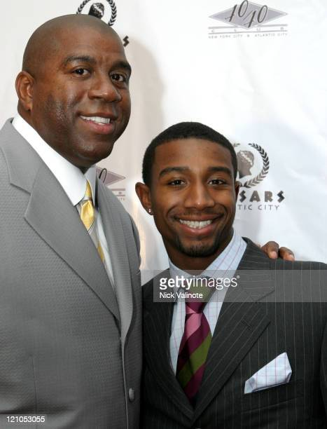 Earvin Magic Johnson with Son Andre during JayZ Celebrates The Grand Opening of The 40/40 Club in Atlantic City Arrivals at 4040 Club in Atlantic...