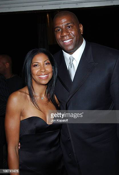 Earvin Magic Johnson with wife Cookie at the Official TipOff to NBA AllStar 2004 Entertainment American Express Celebrates the Rewarding Life of...