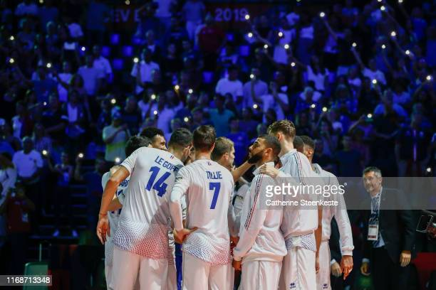 Earvin Ngapeth of France and Team France huddles after the victory the Euro Volley 2019 match between France and Bulgaria on September 16 2019 in...