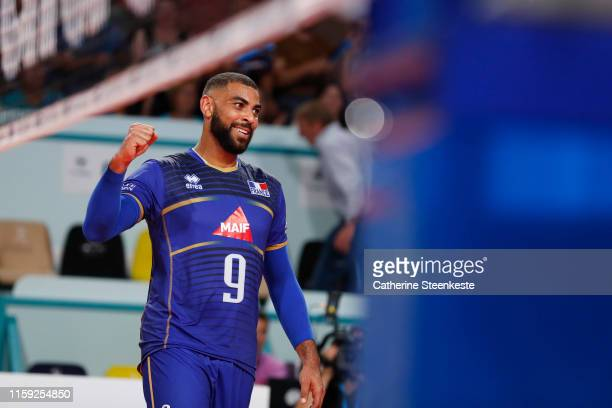 Earvin Ngapeth of France celebrates a play during the friendly game between France and USA at Palais des Sports on August 2 2019 in Tours France
