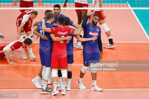 Earvin Ngapeth of France celebrates a point with his teammates during the EuroVolley 2019 Third place match between France and Poland at AccorHotels...