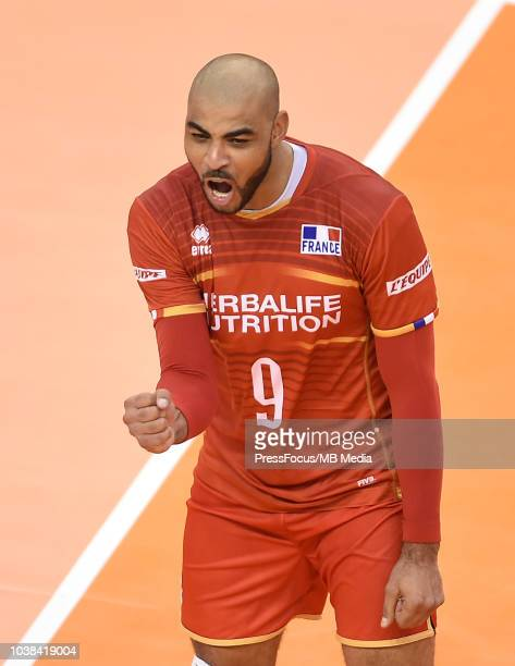 Earvin Ngapeth of France celebrates after a point during FIVB World Championships match between France and Argentina on September 23 2018 in Varna...