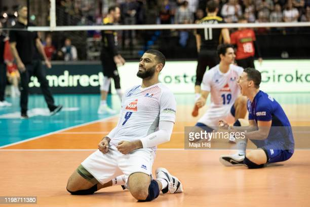 Earvin Ngapeth of France celebrates after winning the final against Germany during CEV Tokyo Volleyball European Qualification 2020 tournament at...