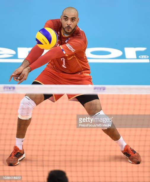 Earvin Ngapeth of France in action during FIVB World Championships match between France and Argentina on September 23 2018 in Varna Bulgaria