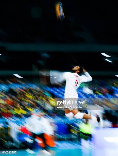Earvin Ngapeth of France in action during the match between Serbia and France at Arena da Baixada Stadium during day three of the FIVB World League...