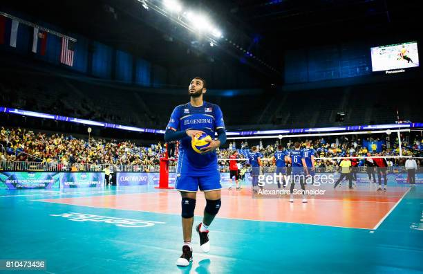 Earvin Ngapeth of france in action during the semifinal match between France and Canada at Arena da Baixada Stadium during day four of the FIVB World...