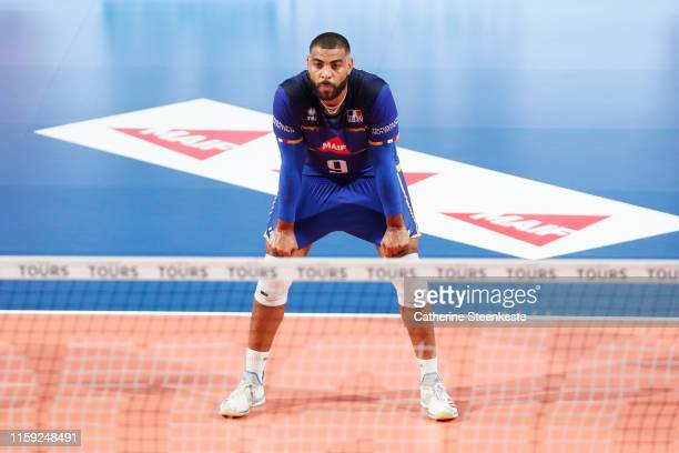Earvin Ngapeth of France is concentrated during the friendly game between France and USA at Palais des Sports on August 2 2019 in Tours France